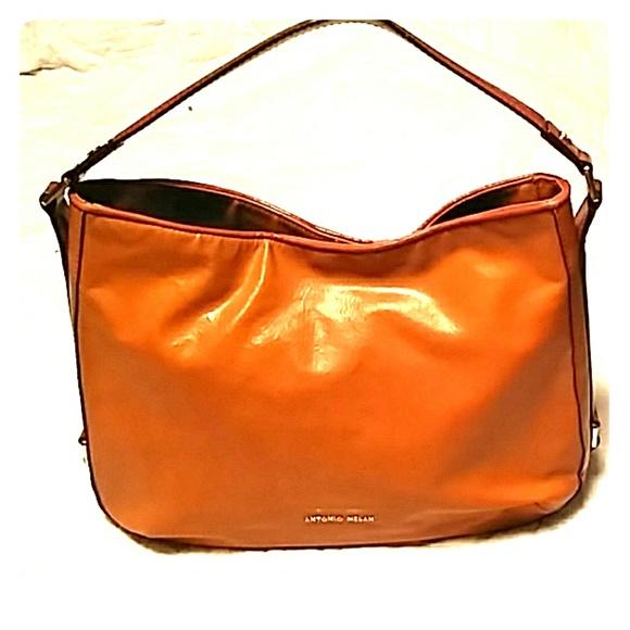ANTONIO MELANI Handbags - Antonio Melani Orange/Brown Leather Shoulder Bag